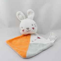 Doudou plat lapin blanc orange gris SIPLEC