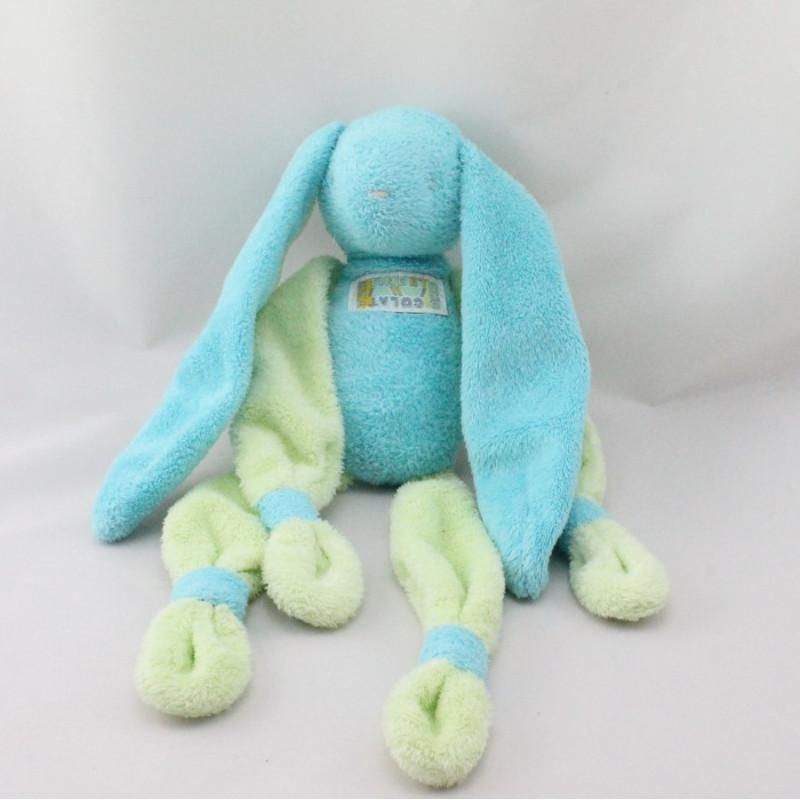 Doudou lapin bleu vert TARTINE ET CHOCOLAT