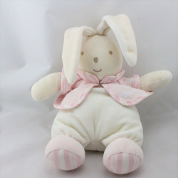 Doudou lapin blanc gilet rose rayé TARTINE ET CHOCOLAT