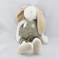 Doudou lapin blanc beige kaki BERLINGOT