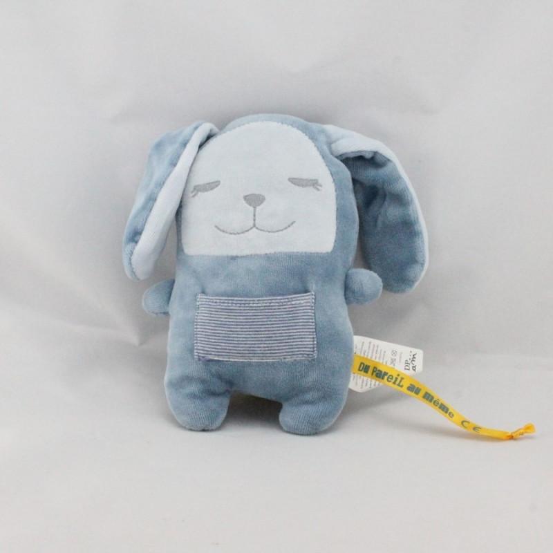 Doudou lapin bleu poche rayé DPAM