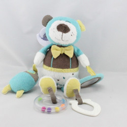 Doudou ours Paddy bleu marron blanc jaune SAUTHON