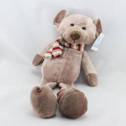 Doudou ours marron beige rayé rouge MAXITA