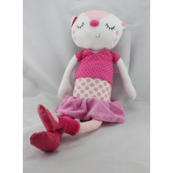 Doudou chat blanc rose pois ORCHESTRA PREMAMAN