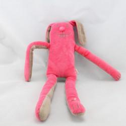Doudou lapin rose marron aux grandes pattes DPAM