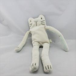 Doudou chat blanc vert aux grandes pattes DPAM