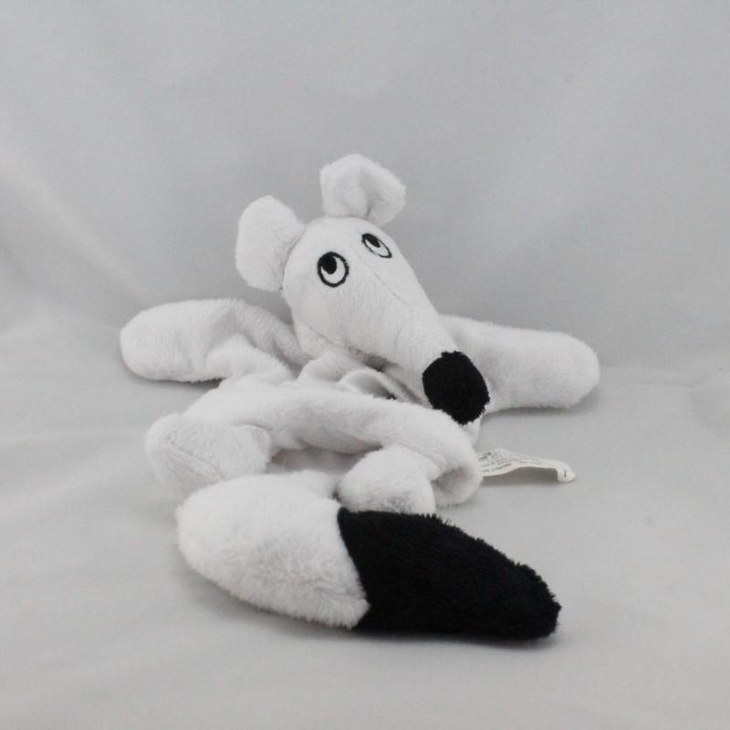 Doudou marionnette souris blanche noir ELB