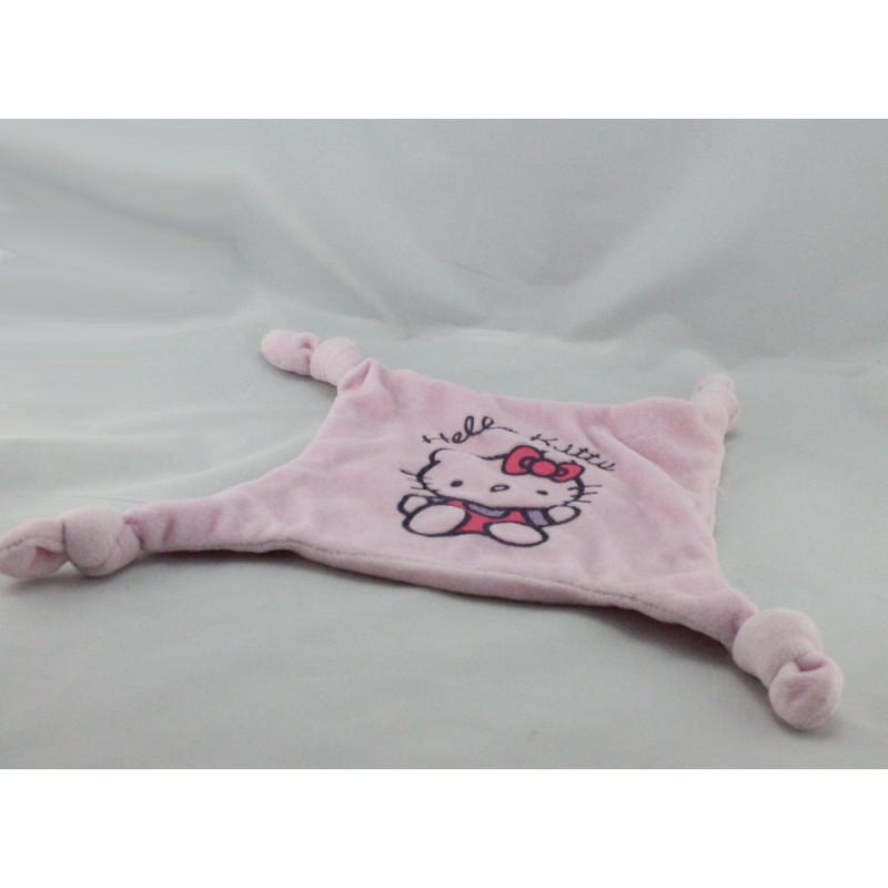 Doudou plat carré rose chat HELLO KITTY