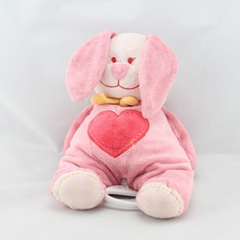 Doudou musical lapin rose coeur TEX