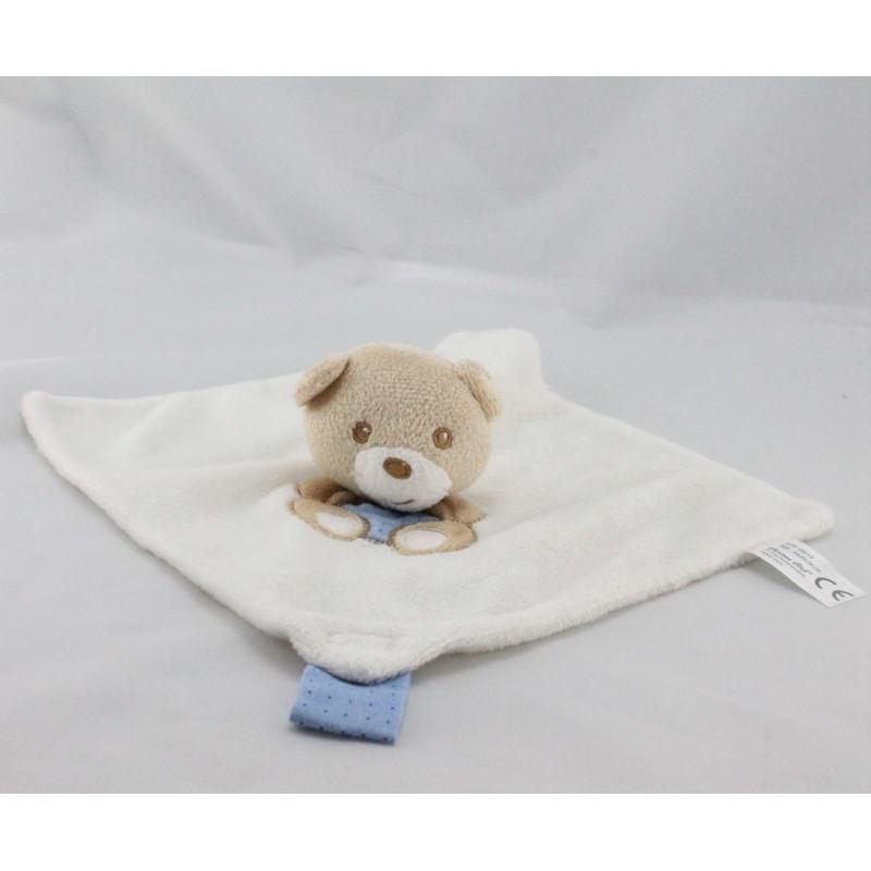 Doudou plat ours blanc beige bleu CARTOON CLUB