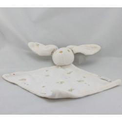 Doudou plat lapin blanc imprimé petit ours SERGENT MAJOR