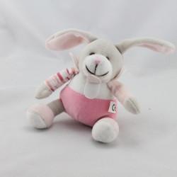 Doudou et Compagnie lapin blanc rose attache tétine