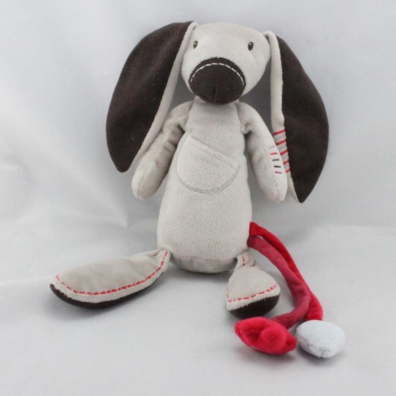 Doudou lapin beige gris marron rouge VERTBAUDET