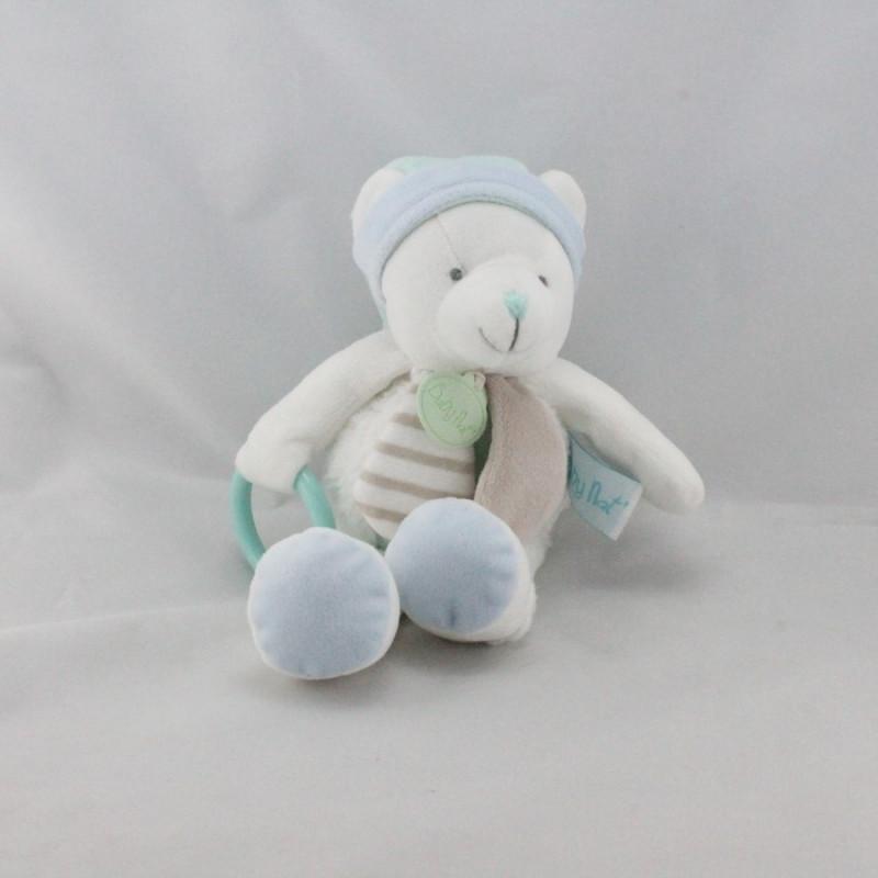 Doudou ours blanc bleu beige anneau BABY NAT