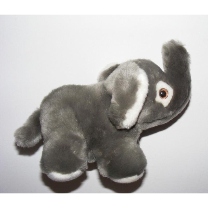 Doudou Peluche très douce Éléphant gris AJENA