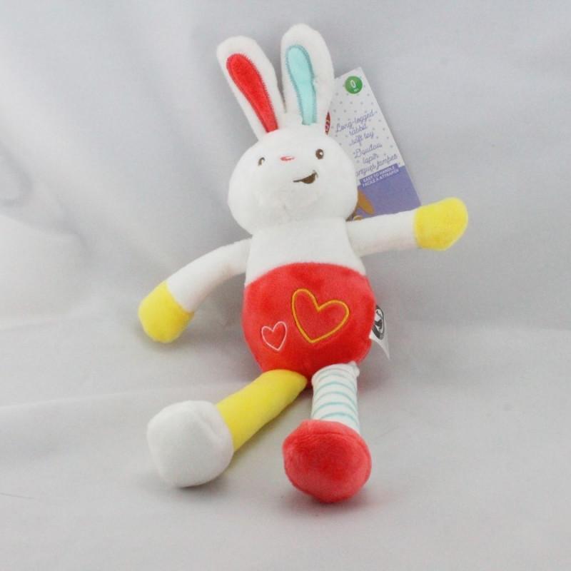 Doudou lapin blanc rouge jaune bleu AUCHAN BABY