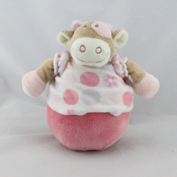 Doudou culbuto vache beige rose fleurs Lola rosalie NOUKIE'S