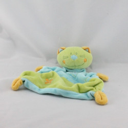 Doudou plat chat bleu vert orange SAUTHON