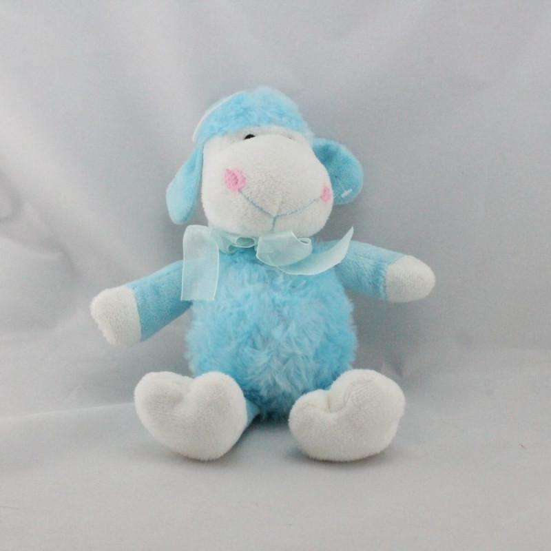 Doudou mouton bleu blanc noeud