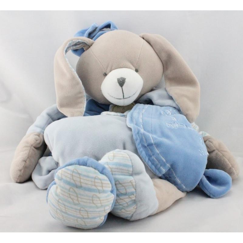 Doudou et compagnie range pyjama lapin bleu blanc pétale Célestin