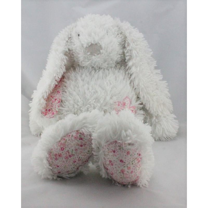 Grand Doudou peluche lapin blanc rose fleurs