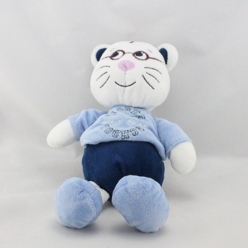 Doudou tigre blanc bleu lunette TOUT SIMPLEMENT CASINO