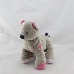 Doudou chat chien gris rose violet SUCRE D'ORGE