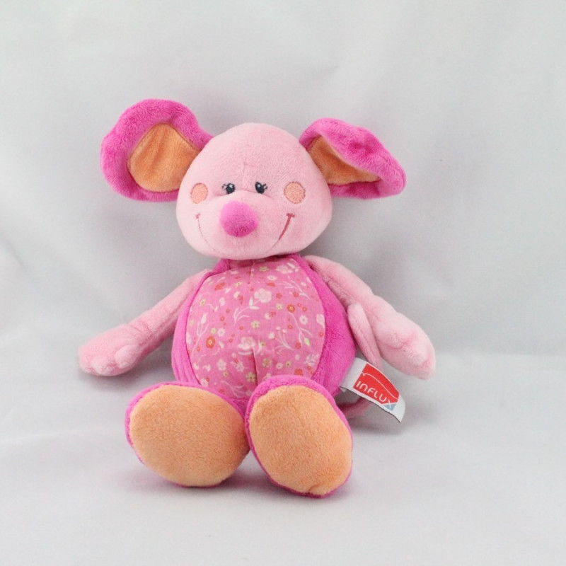 Doudou souris rose orange fleurs INFLUX