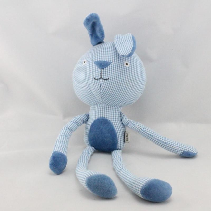 Doudou lapin bleu vichy DPAM