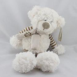 Doudou ours blanc beige rayé Kalidou ENESCO