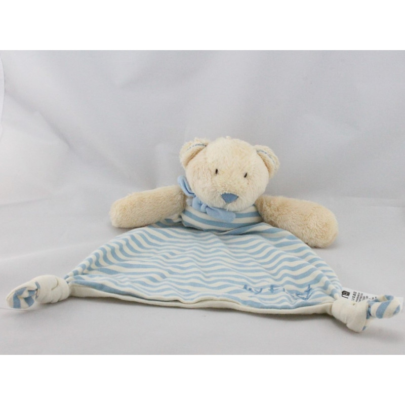 Doudou plat ours beige bleu rayé MY FIRST