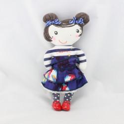 Doudou poupée bleu blanc rouge rayé pois CATIMINI