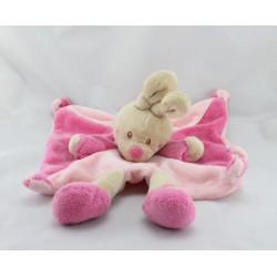 Doudou plat lapin rose beige Hello Baby