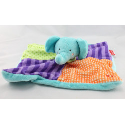 Doudou plat éléphant bleu violet vert orange FISHER PRICE