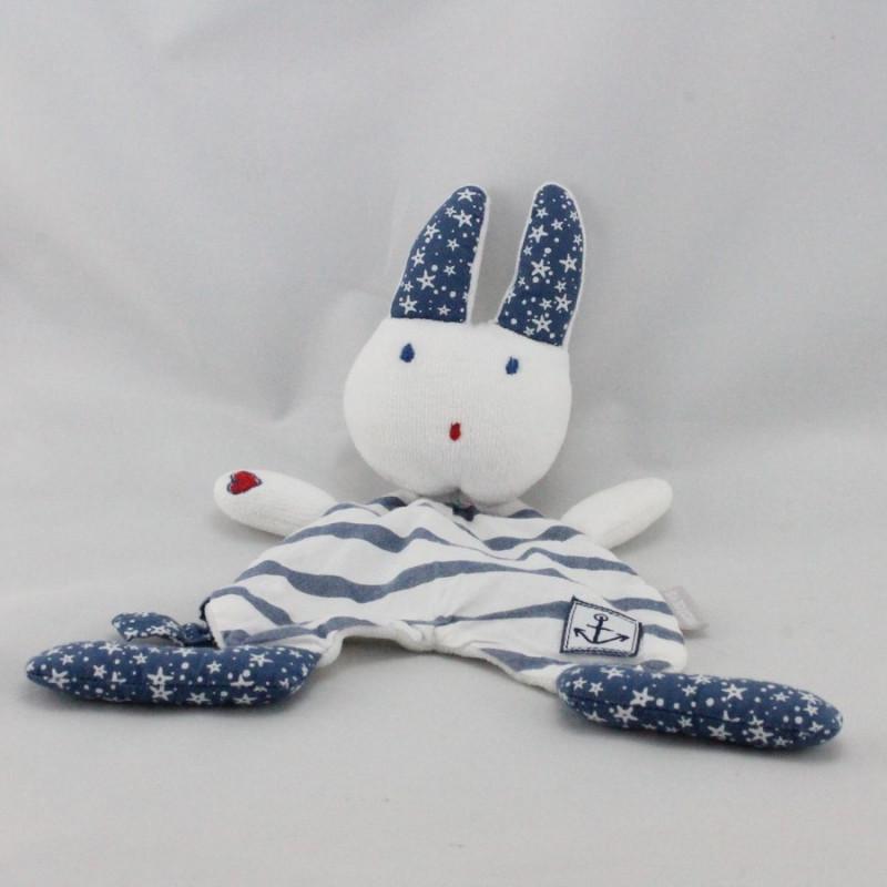 Doudou plat lapin blanc bleu rayé étoiles NATALYS