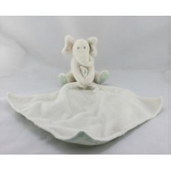 Doudou éléphant blanc vert mouchoir MARKS & SPENCER