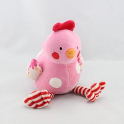 Doudou oiseau poule rose rouge NATALYS