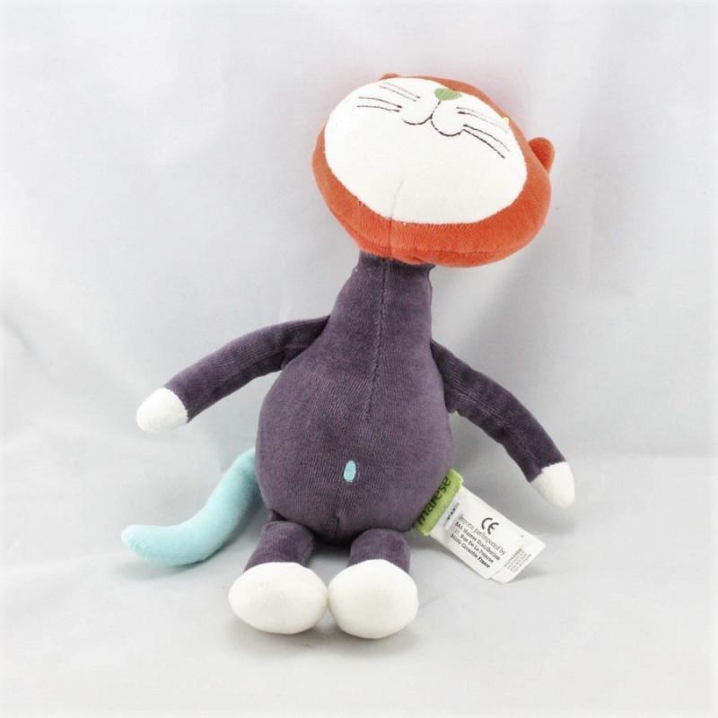 Doudou chat violet orange bleu MARESE