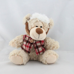 Doudou peluche ours beige écharpe rouge PRIMATIS
