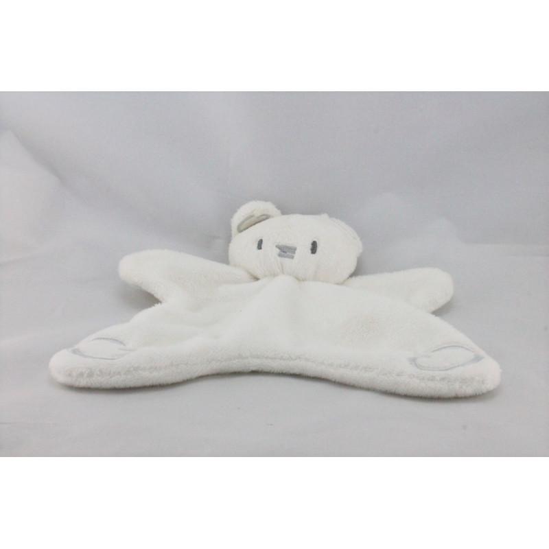 Doudou plat ours blanc gris BEBE CONFORT