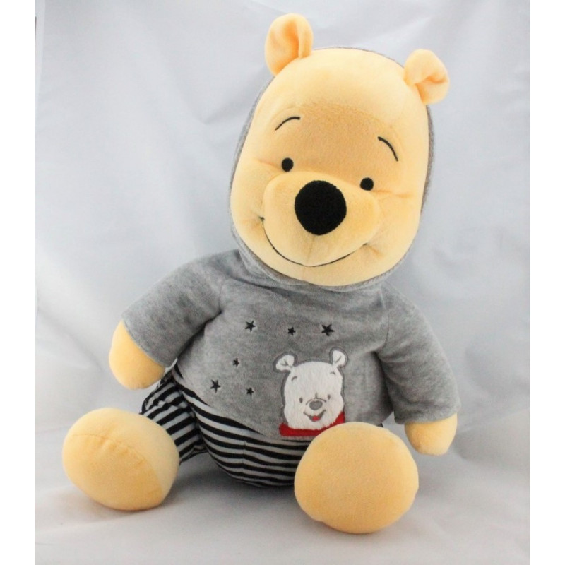 Grand Doudou winnie pyjama gris rayé noir DISNEY NICOTOY