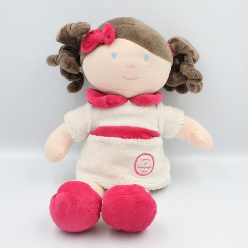 Doudou et compagnie poupée fille blanche rose Les Demoiselles