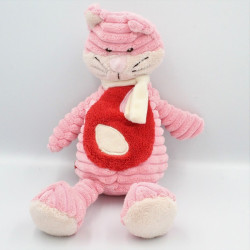 Doudou velours chat rose rouge TEX