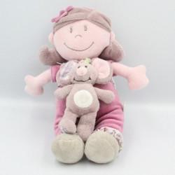 Doudou musical poupée fille rose prune robe fleurs Nina Kenza NOUKIE'S
