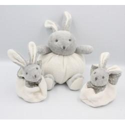 Doudou lapin gris blanc laine VERTBAUDET