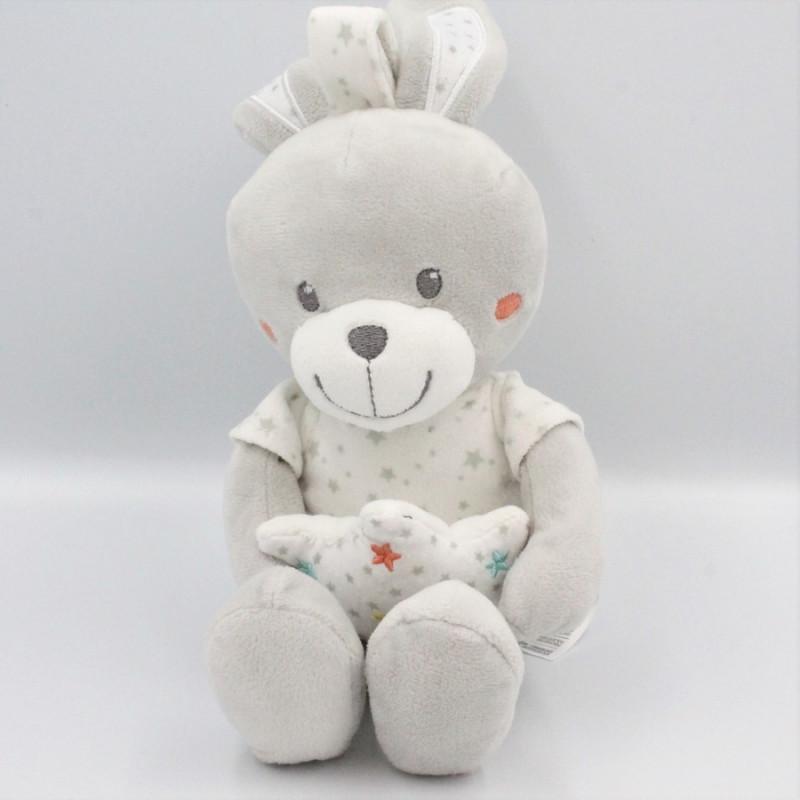 Doudou musical lapin blanc gris étoiles MOTS D'ENFANTS