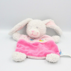 Doudou plat lapin blanc rose oiseau nid TEX