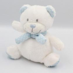 Petit Doudou ours blanc bleu pois TEX BABY