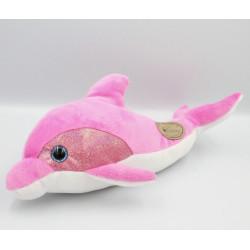 Doudou dauphin rose blanc Parc ASTERIX