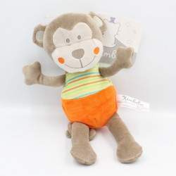 Doudou singe marron vert orange KIMBALOO